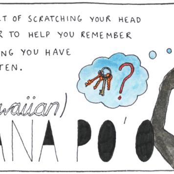 O ato de coçar a cabeça quando se esquece de algo, como se isso ajudasse a lembrar